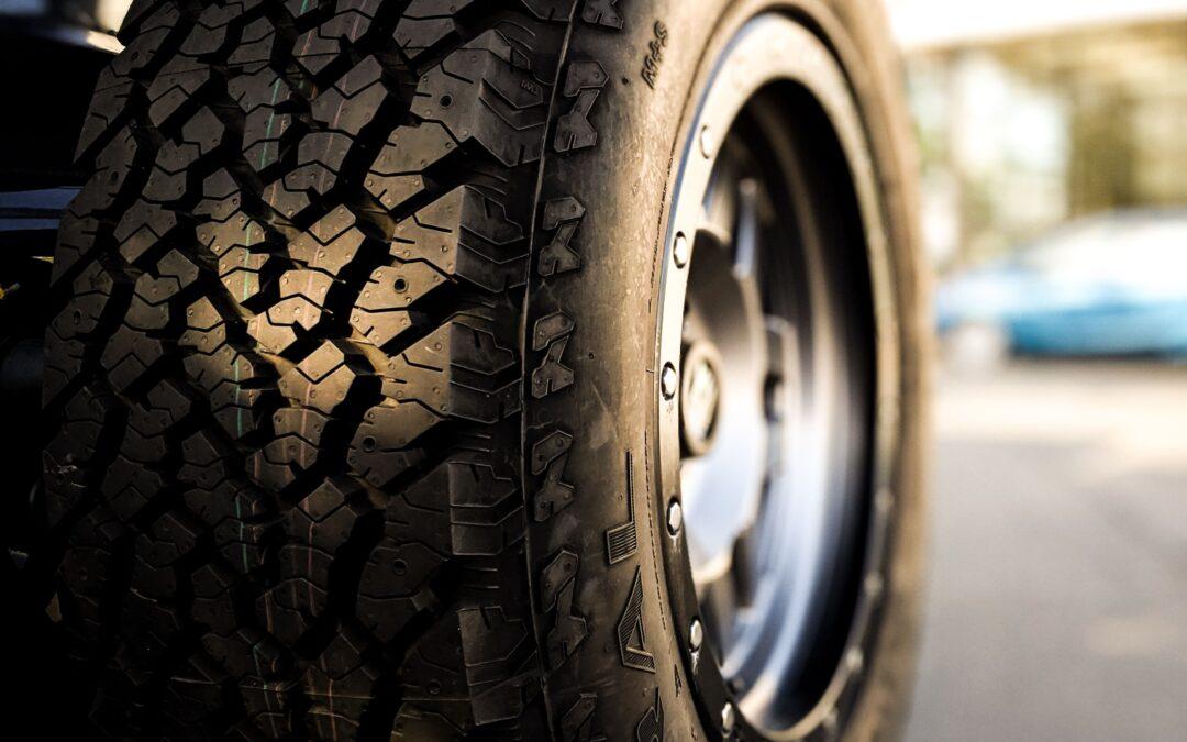 Close up of a black tire